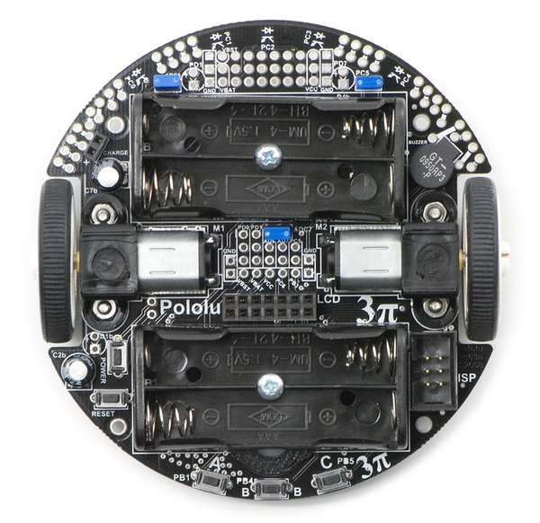 Top view of the Pololu 3pi robot without batteries or LCD