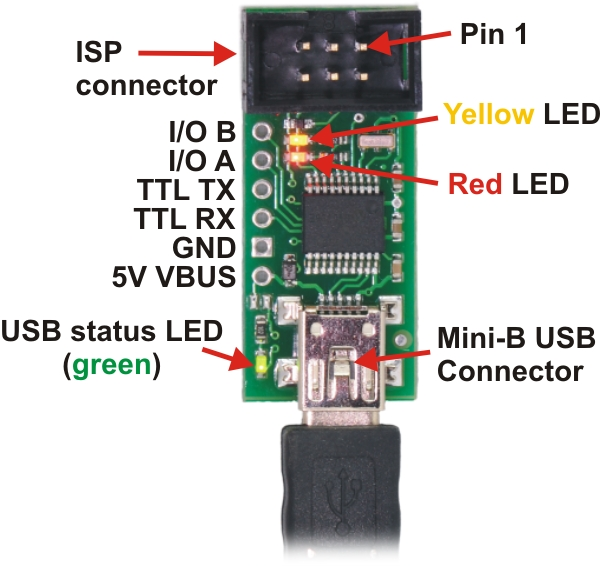 Pololu USB AVR programmer, labeled top view.