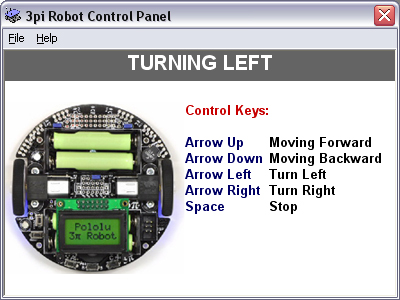 Screenshot of 3pi Pololu Robot Control Panel Software. Robot is turning left.