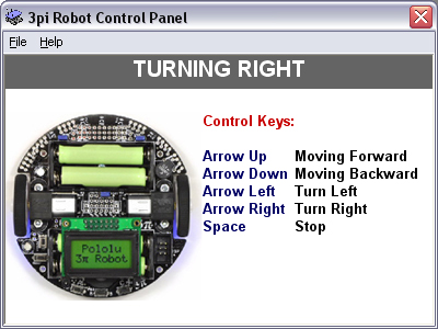 Screenshot of 3pi Pololu Robot Control Panel Software. Robot is turning right.
