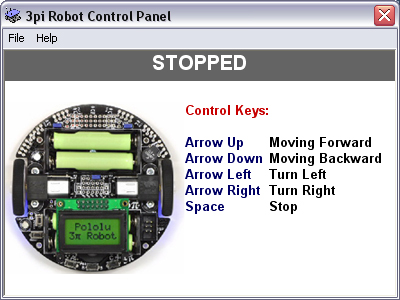 Screenshot of 3pi Pololu Robot Control Panel Software. Robot is stopped.