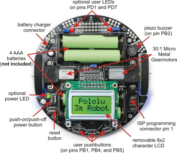 General features of the Pololu 3pi robot, top view