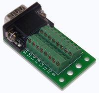 DB15HD Slim Breakout Board - DB15HD Slim Male Breakout Board, R/A Connector, Captive Screws