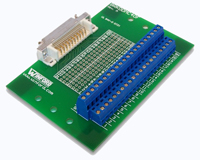 Mini D Ribbon 40-Pin Breakout Board - Mini Centronics/MDR 40-Pin Female Breakout Board, R/A Connector, Feet