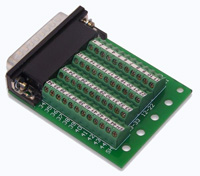 BRKSD44HDMV2 - DB44HD Male Slim Breakout Board, Right Angle Connector, Captive Screws