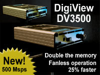 DV3500 - DIGIVIEW LOGIC ANALYZER with two sample modes: 250 Msps, 36 Channels or 500 Msps, 18 Channels.