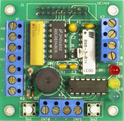 TB-1 - Training Board with 3 LED's buzzer 4 analog inputs terminal blocks switches