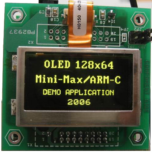OLED-1 - 128x64 4-bit Grayscale OLED Graphics display board with microcontroller serial (SPI) interface
