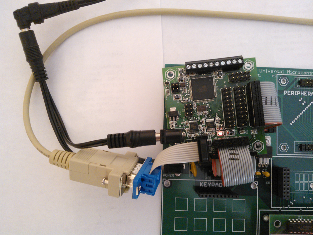 MINI-MAX/AVR-C Board connected to MicroTRAK Carrier Board