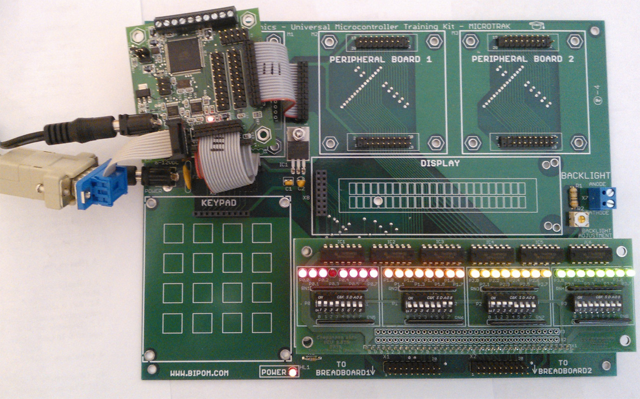 8051 I/O Module and MINI-MAX/AVR-C Board connected to MicroTRAK Carrier Board
