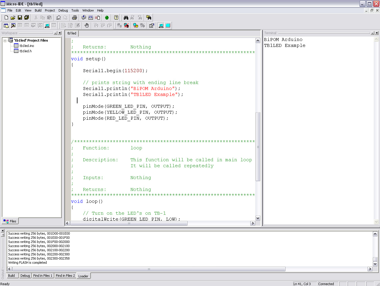 Terminal window in Micro-IDE when TB1LED example is running
